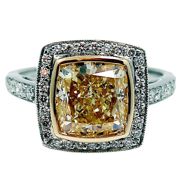 5.55 Carat Fancy Light Yellow Radiant Diamond Engagement Ring