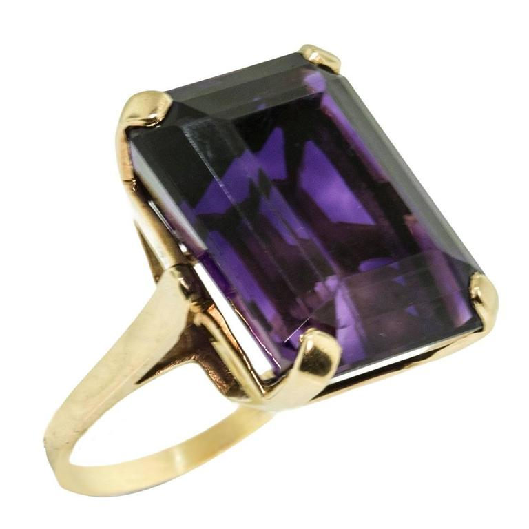 12 45 Carat Emerald Cut Amethyst Gold Ring At 1stdibs