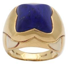 1980s Bulgari French Cut Lapis Lazuli Gold Ring