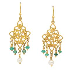 Pearl Emerald Gold Chandelier Earrings