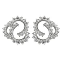 1995 Angela Cummings Diamond Platinum Clip Earrings