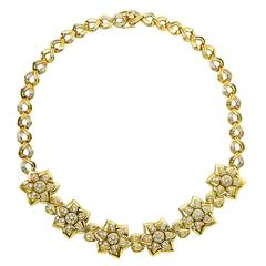 Diamond Gold Flower Motif Necklace