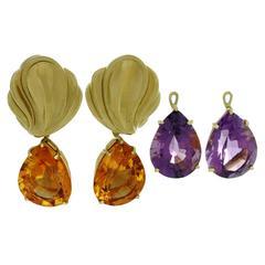 Tiffany & Co. Paloma Picasso Diamond Gemstone Gold Pendant Earrings