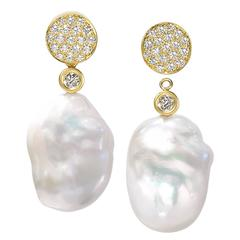 Susan Sadler Pave Chinese Freshwater Pearl Diamond Gold Drop Stud Earrings