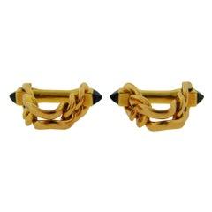 1970s Boucheron Paris Sapphire Gold Cufflinks