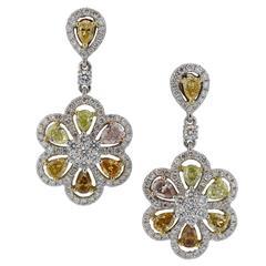 Multicolor Diamond Gold Drop Earrings