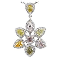 2.63 Carat Fancy Color Diamond Gold Pendant