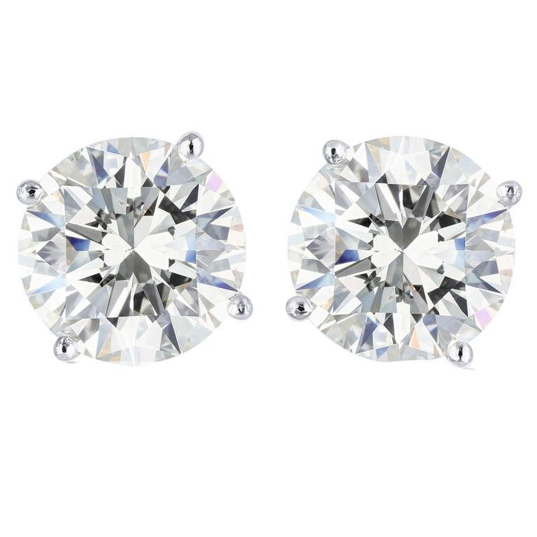 4.49 Carat Round Brilliant Cut Diamond Platinum Stud Earrings
