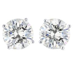 4.49 Carat Round Brilliant Cut Diamond Platinum Stud Earrings