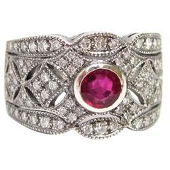 Ruby Diamond Platinum Filigree Ring