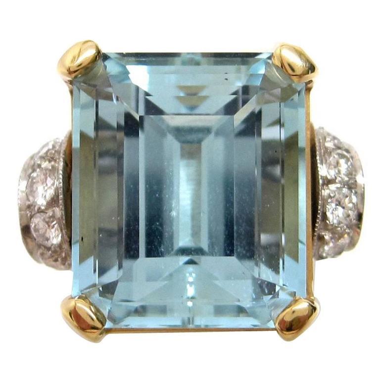 1950s Aquamarine Gold Platinum Ring