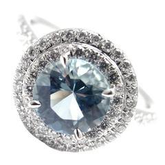 Tiffany & Co. Soleste 1.25 Carat Aquamarine Diamond Platinum Ring