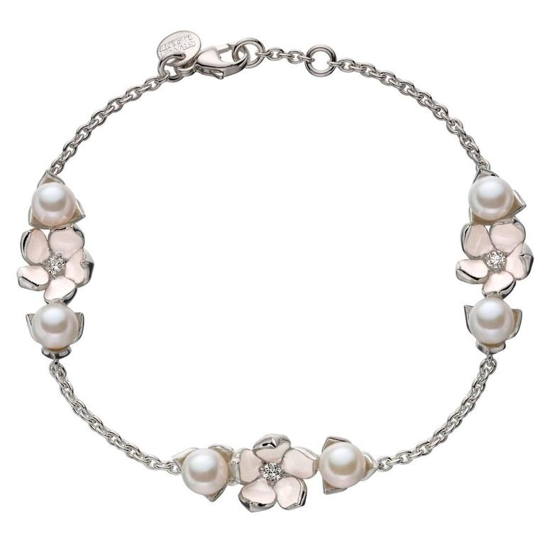 Shaun Leane Freshwater Pearl Diamond Sterling Silver Three Flower Bracelet