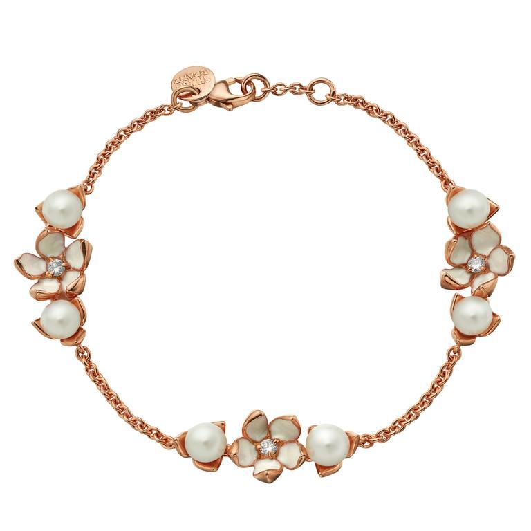 Shaun Leane Rose Gold Vermeil Three Flower Bracelet