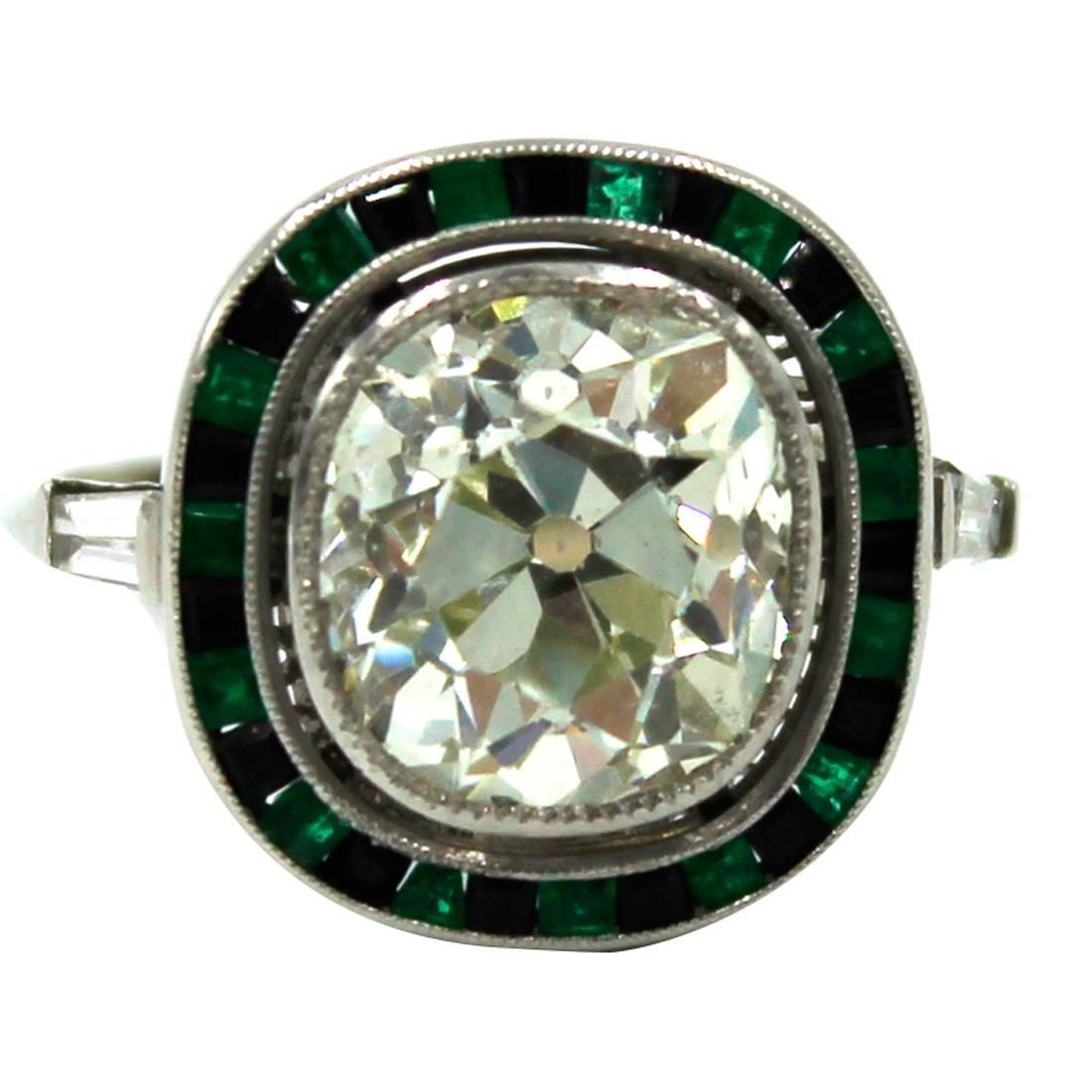 4 25 carat cushion cut gemstone platinum ring at