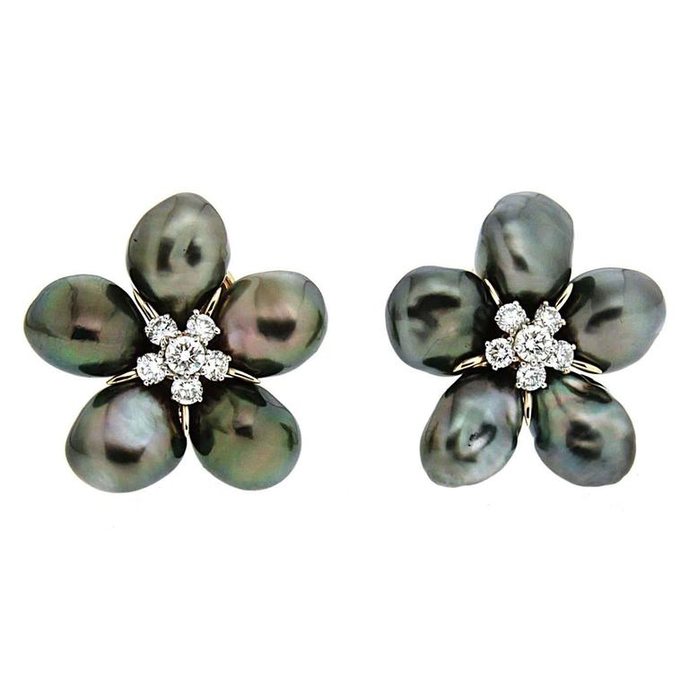 Tahitian Pearl Diamond Gold Cluster Clover Earrings 1