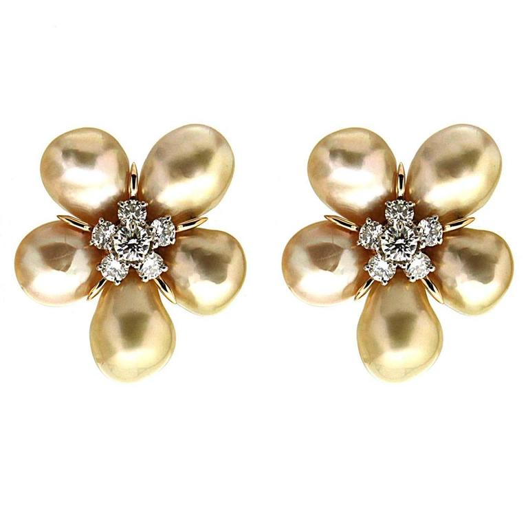 Golden Keshi Pearl Cluster Clover Earrings with Diamonds