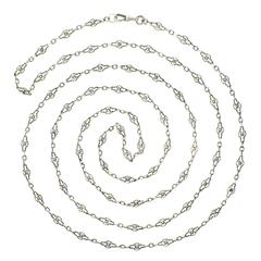 Fabulous 60-inch Long Antique French Sterling Filigree Necklace