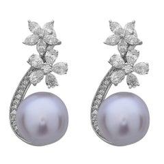 Pearl Diamond Gold Floral Earrings