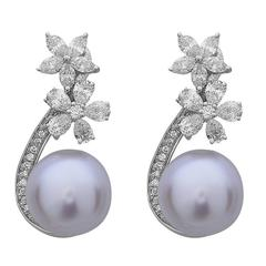 Pearl Diamond Gold Floral Earrings