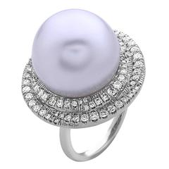 South Sea Pearl White Diamond Gold Ring