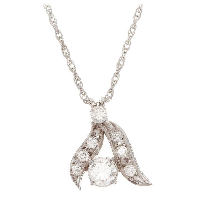 Round Brilliant Diamond Gold Budding Branch Pendant Necklace For Sale