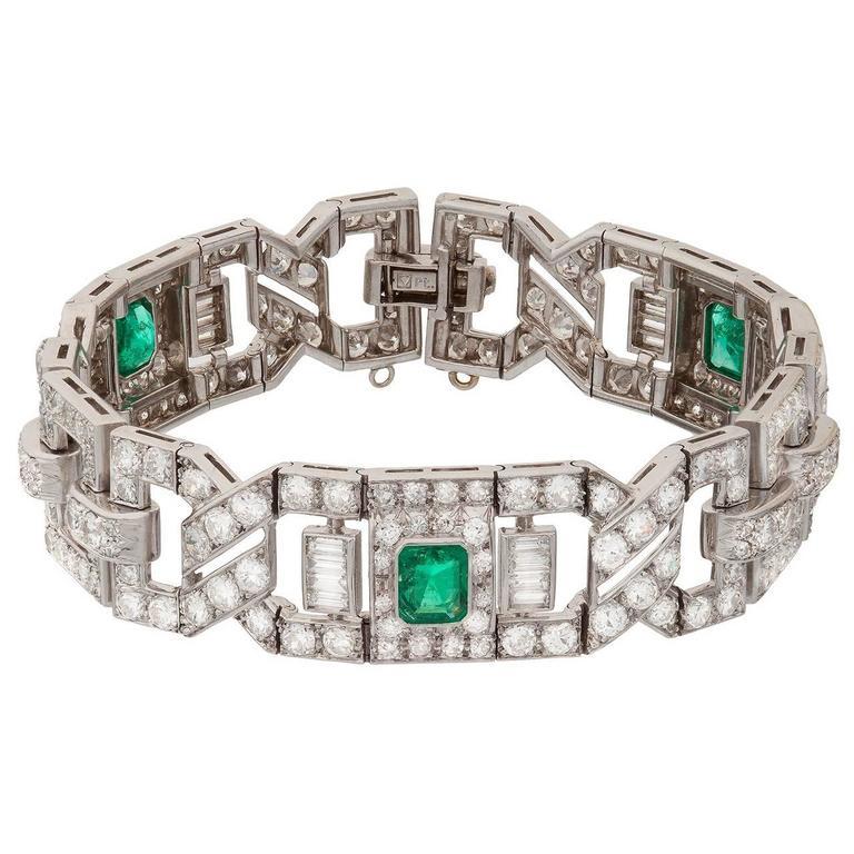 Art Deco Emerald Diamond Platinum Link Bracelet 1