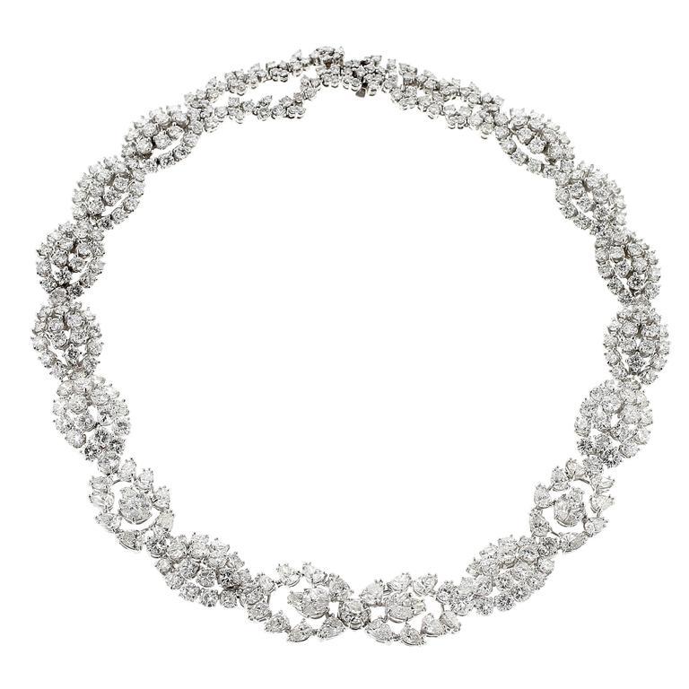 Diamond Platinum Necklace For Sale