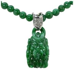 Fascinating Natural Jadeite Jade Carved Pendant and Necklace