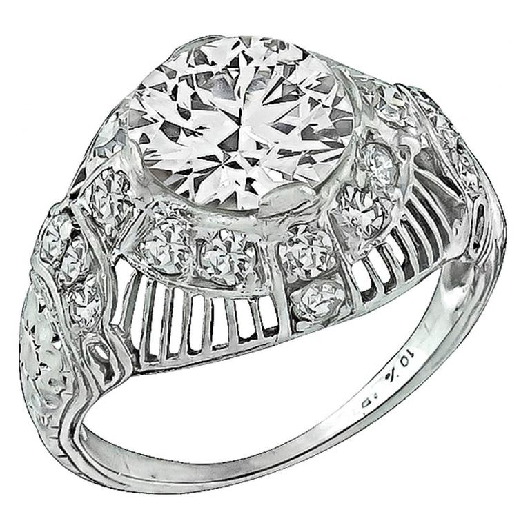 1.88 Carat GIA Cert Diamond Platinum Engagement Ring