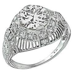1.88 Carat GIA Cert Diamond Platinum Engagement Ring