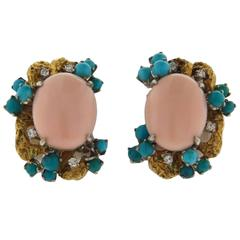 1960s Angel Skin Coral Turquoise Diamond Gold Earrings