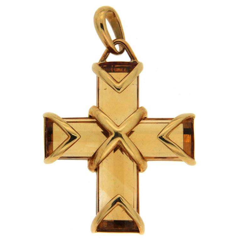 Citrine Gold Cross Pendant