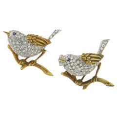 Adorable Tiffany & Co. Sapphire Diamond Gold Bird Brooch Pin Set