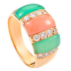 Van Cleef & Arpels Diamond Coral and Chrysoprase Gold Ring