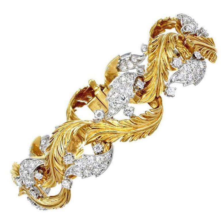 Retro Diamond Gold Platinum Leaf Bracelet For