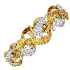 Retro Diamond Gold Platinum Leaf Bracelet