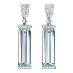 Baguette Aquamarine Diamond Gold Drop Earrings