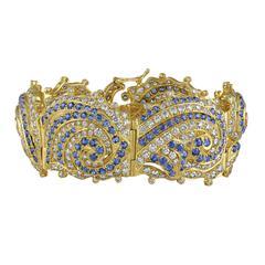 Crevoshay Blue Sapphire Diamond Gold Bracelet