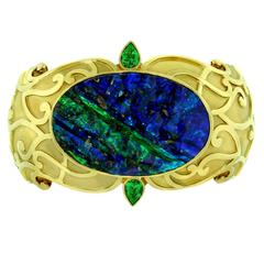 Crevoshay Boulder Opal Tsavorite Gold Cuff Bracelet