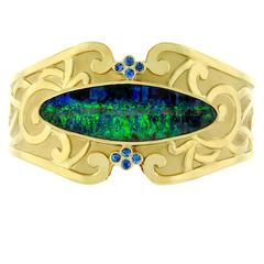 Crevoshay Boulder Opal Blue Sapphires Gold Cuff Bracelet
