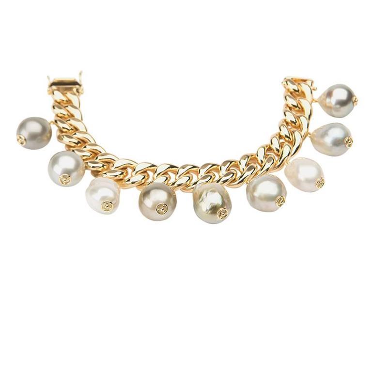 Pearl Gold Link Bracelet For Sale