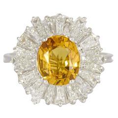 Yellow Sapphire Diamond Platinum Ring