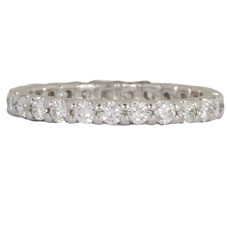 Diamond Gold Eternity Band Ring 1.00 Carat/ U Setting For Sale