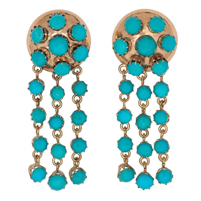 Victorian Persian Turquoise Gold Earrings