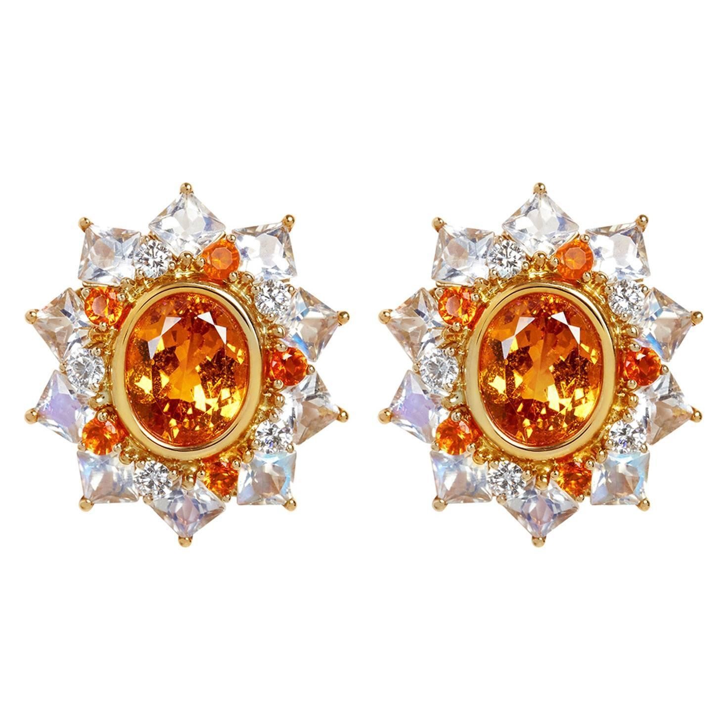 African Mandarin Orange Garnet Moonstone Fire Opal and Diamond