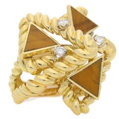 La Triomphe Tiger's Eye Diamond Gold Cocktail Ring