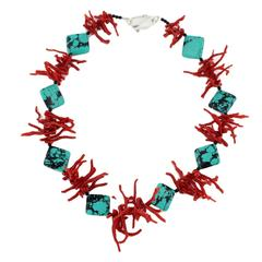 Natural Red Coral Branches enhanced by real American Blue Turquoise Necklace