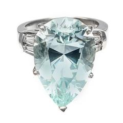 1940s 12.99 Carat Pear Shaped Natural Aquamarine Diamond Platinum Cocktail Ring
