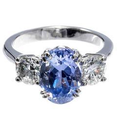 Peter Suchy Violet Sapphire Diamond Platinum Three Stone Ring